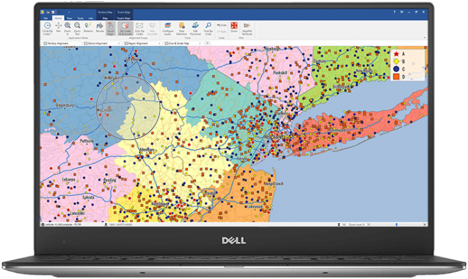 Sales Territory Mapping Displayed on Laptop
