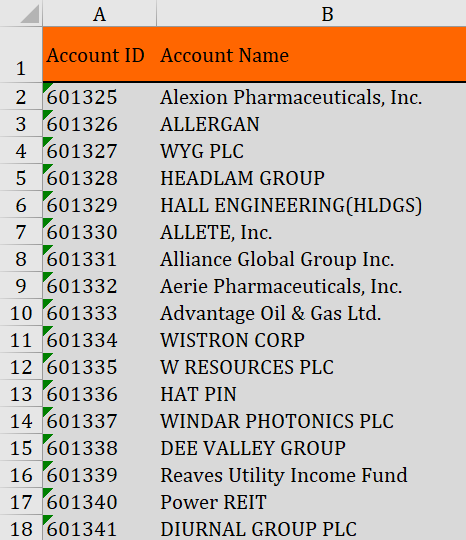 Excel View of Sales Account Names and IDs