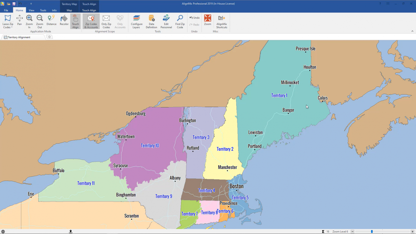 Assign Sales Territories to Districts