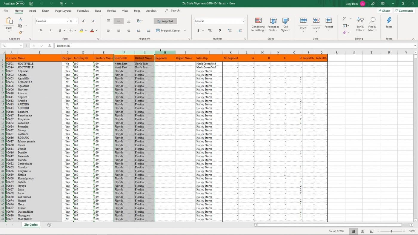Exporting Full Zip Code List   AlignMix